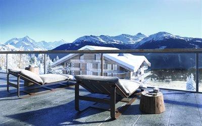 Пейзаж, Горы, Швейцария, Отель