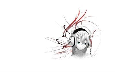девочка, headphones, girl, наушники, анме, музыка, music, anme, настроение, mood