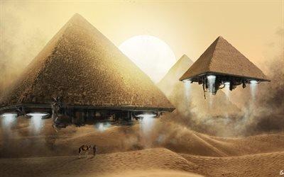 верблюды, пирамиды, большое солнце, desert, пустыня, песок, sand, camels, pyramids, great sun
