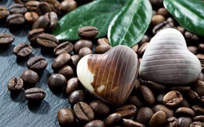 цукерки сердечка, шоколад, кавові зерна, кава, зерна, шоколадні цукерки, конфеты сердечка, кофейные зёрна, кофе, зёрна, шоколадные конфеты