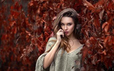 девушка, шатенка, пуловер, ветки, листья, взгляд