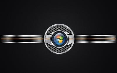 логотип, Windows 7, Виндоус 7, черный фон