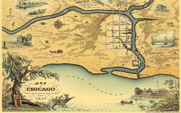 Карта, Чикаго, Текстуры, Map, Chicago, 1833