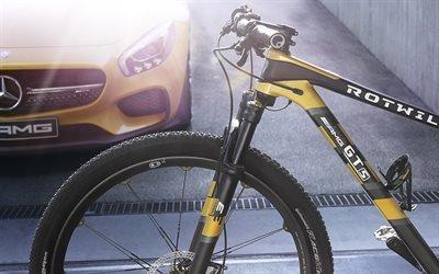Rotwild GT S, горный велосипед, Мерседес-Бенц, спортивный автомобиль, Mercedes-Benz, AMG GT