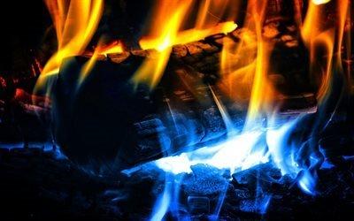 огонь, костер, языки пламени, угли