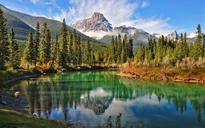 канада, озеро, горы, лес, природа