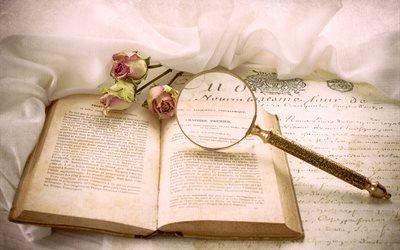 книга, бумага, текст, лупа, цветы, розы, ткань, винтаж