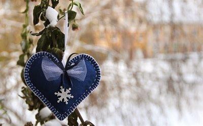 сердце, поделка, снег, зима, цветок