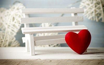 скамья, сердца, любовь