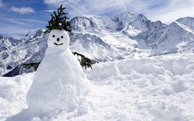 природа, зима, снег, пейзаж, горы, снеговик, ель, ёлка