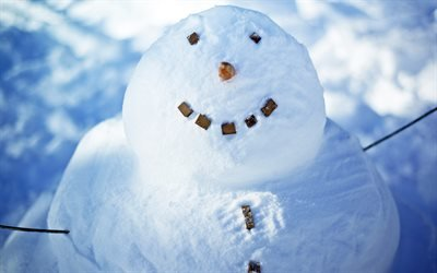 зима, снег, снеговик, улыбка