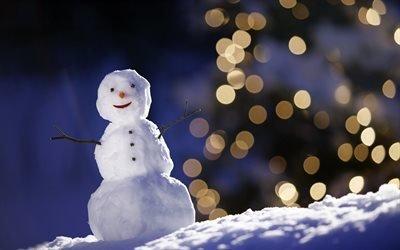 зима, снег, снеговик, боке