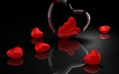 червоні сердечка, сердце, 3д, 3d, красные сердечки