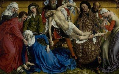 Рогир ван дер Вейден, Rogier van der Weyden, нидерландский художник, Снятие с креста, El Descendimiento, 1435-1438, музей Прадо, Мадрид