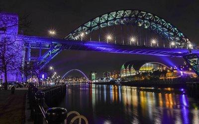 Ночь  Набережная, Мост через реку Тайм, Ньюкасл - апон - Тайм, Англия, Newcastle upon Tyne, England
