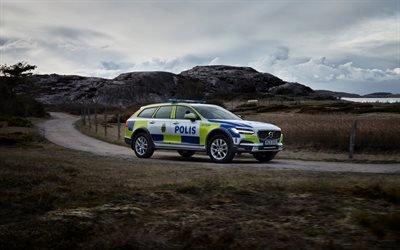 Вольво, универсал, полиция, 2018, Volvo, Volvo V90, Police car