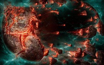 взрыв, огонь, апокалипсис, планеты, fire, пожар, куски, pieces, explosion, apocalypse, planet