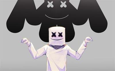 Маршмэллоу, арт, лого, диджей, Marshmello