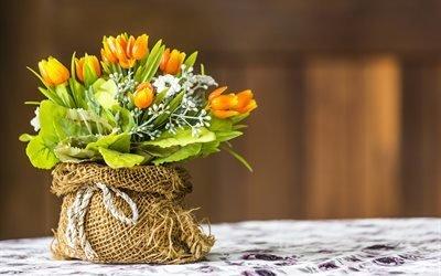 букет, тюльпаны, цветы, мешок, мешковина, верёвка