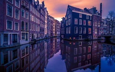 Амстердам, дома, каналы, вечерний город, Голландия, Нидерланды