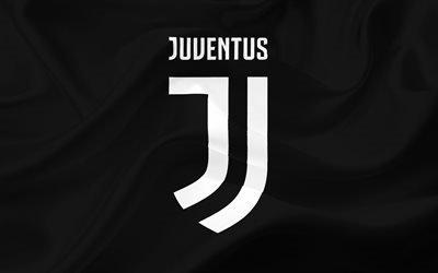 Ювентус, футбольный клуб, 4k, логотип 2017, новый логотип ювентуса, черный фон, Juventus