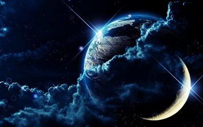 космос, планеты, облака, звёзды, свет