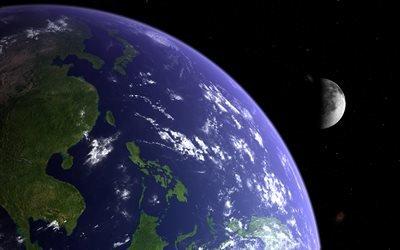 космос, планеты, Земля, Луна