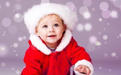 дети, малыш, ребёнок, костюм, Санта Клаус, праздник, рождество, боке