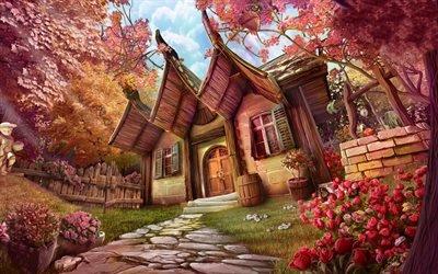 Арт, Фэнтези, Домик в японском стиле, Сад, Цветы