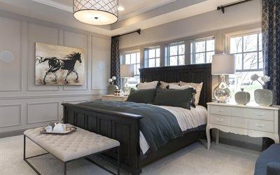 Интерьер спальни, Кровать, Подушки, Картина, Комод