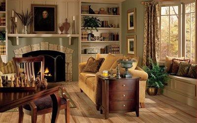 Интерьер гостиной с камином, Мягкая мебель, Камин, Картина