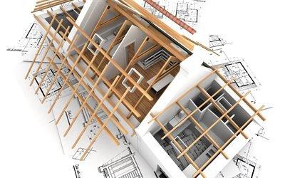 3Д, дом, проект, макет
