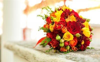 весільний букет, червоний троянди, жовті троянди, букет нареченої, свадебный букет, красный розы, желтые розы, букет невесты