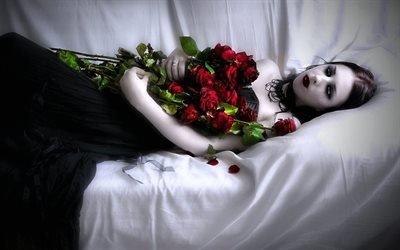 Арт, Фэнтези, Девушка в черном, Розы