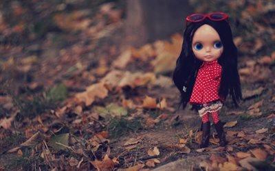 Осень, Парк, Листья, Кукла