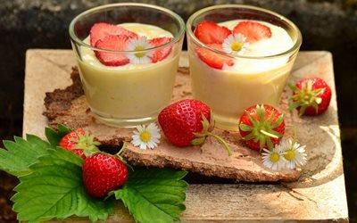еда, стаканы, десерт, ягоды, клубника, листья, цветы, маргаритки, кора
