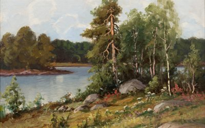 Артур Хейкелл, Arthur Heickell, Finnish painter, финский художник, Прибрежный вид, Coastal view