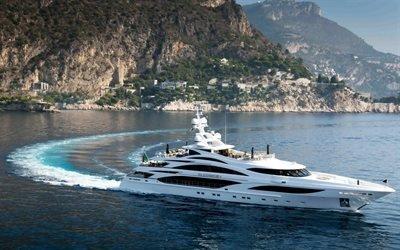 белая яхта, роскошные яхты, корабль, море, горы