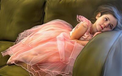 Маленькая балерина, Диван, Розовая пачка, Отдых, Портрет