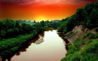 река, вода, берег, деревья, небо, природа, закат, облака