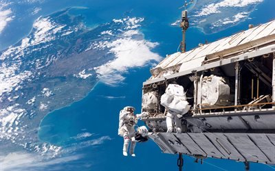 космос, станция, астронавты, планета