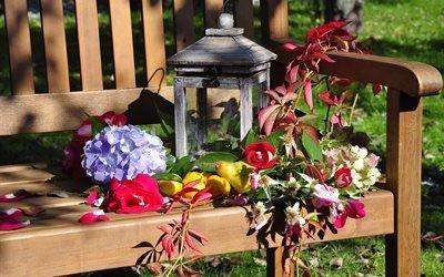 природа, скамья, фонарь, цветы, листья