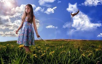 3d, графика, природа, поле, лето, трава, цветы, одуванчики, девочка, верёвка, облака, собака, пёс, ошейник