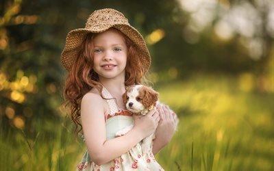девочка, рыжая, локоны, шляпа, сарафан, животное, щенок, природа, лето, боке
