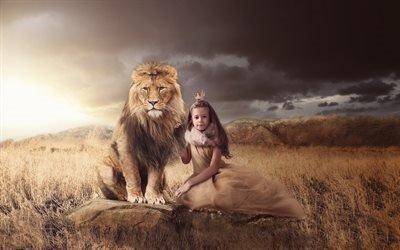 девочка, корона, принцесса, королева, животное, хищник, лев, природа, трава, камни, тучи