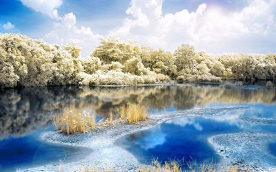 прирорда, зима, река, деревья, облака, небо, берег, отражение, снег