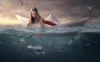 море, вода, девочка, кораблик, рыбы, птицы, чайки, 3d, графика