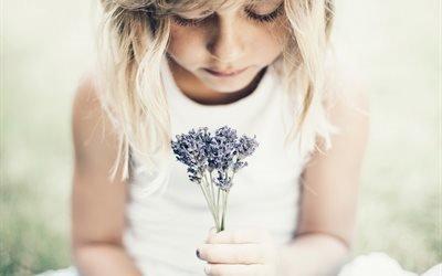 девочка, цветы, букетик