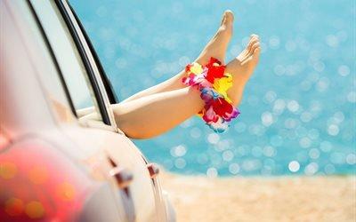 вода, море, автомобиль, ноги, девушка, браслеты, венки, цветы