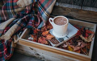 Листья, Поднос, Кофе, Плед